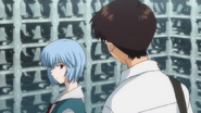 Shinji talks to Rei