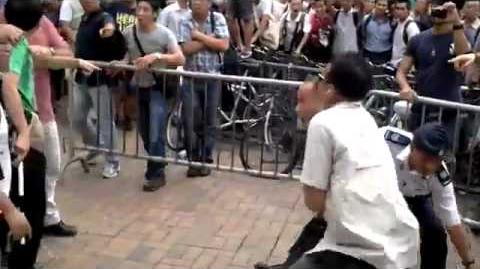 光復上水站行動,愛國人士耍功夫踢毀香港旗