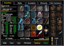 Sparxx Inventory Window