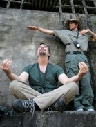 Expendables stuntmen Andy Gill and Chris Palermo dork around on-set