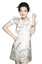 Zhao Wei White Sparkling Dress
