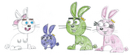 Timmy, Poof, Wanda, and Cosmo as Rabbits