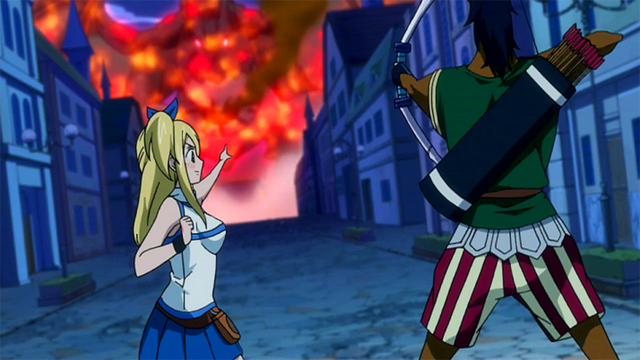 File:Lucy summons Sagittarius to help Natsu.png