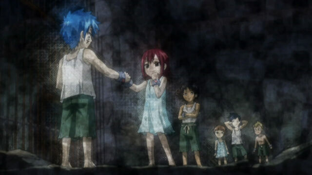 File:Jellal and Erza with their friends in their days of slavery~.jpg