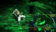 Natsu dodging Kama's scythe
