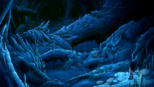File:Gajeel stumbles upon a great number of dragon skeletons.png
