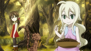 Young Mavis and Zera in the forest