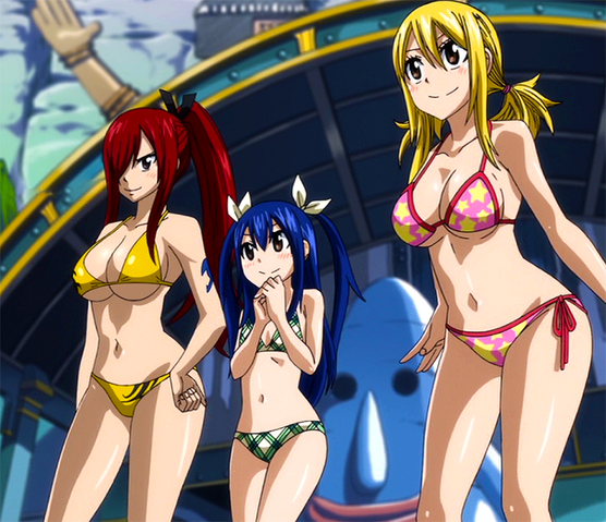 File:Lucy, Wendy and Erza arrive at Ryuzetsu Land.png