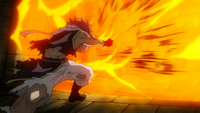 Natsu uses Fire Dragon's Grip Strike