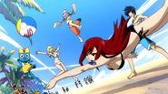 Team Natsu Playing Volleyball