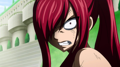 Erza glares at Minerva