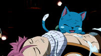 Natsu saved from being digested by Fukuro