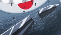 Sharkskin breaks Arcadios' sword