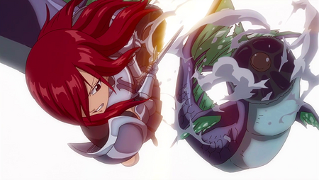 Erza slashes through the sea serpent