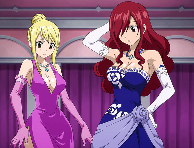 File:Lucy and Erza dress up for the job.png