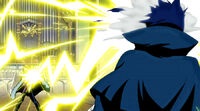 Laxus destroys the cover of Mystogan's face