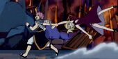 Natsu dragging Lucy