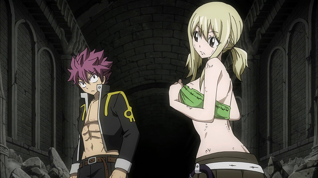 File:Natsu and Lucy look for Mirajane.png