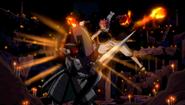 Natsu has his attacks blocked by Dan