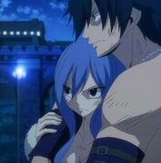 Gray and Juvia Stand Before Sting