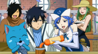 Gray, Juvia, Alzack, Bisca and Happy