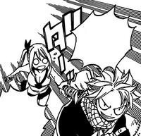 Natsu grabbing Lucy's hands