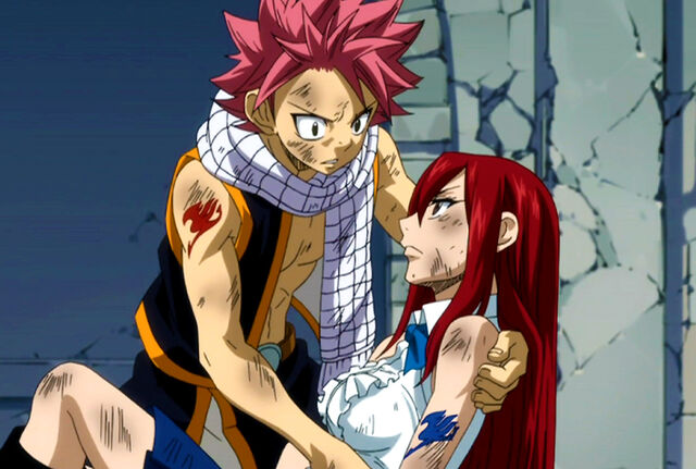 File:Injured Erza tells Natsu that he has to save Lucy.jpg