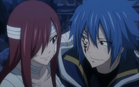 Jellal and Erza Smiling After the Surviving the Dragons' Attack