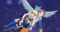 Natsu Saves Lucy from the Eclipse Celestial Spirit King's Attack