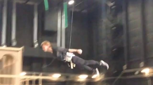 Jeremy Irvine practicing his flying skills