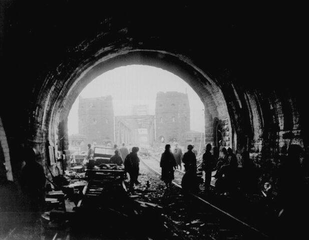 File:Sgt. William Spangle - American Troops Move Through Tunnel and Across Bridge in Germany - 1945.jpg