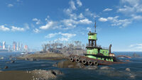FO4 Spectacle Island (Destroyed boat)