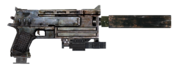 10mm pistol with laser sight, extended mag and silencer