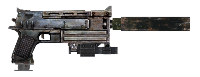File:10mm pistol with laser sight, extended mag and silencer.png