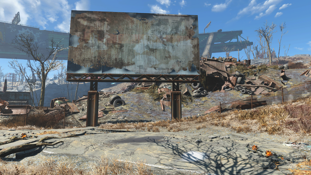 File:FO4 Rotten Landfill sign and east entrance.png