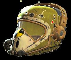 Yellow flight helmet