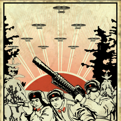 A Chinese propaganda poster featuring the weapon. Translation: