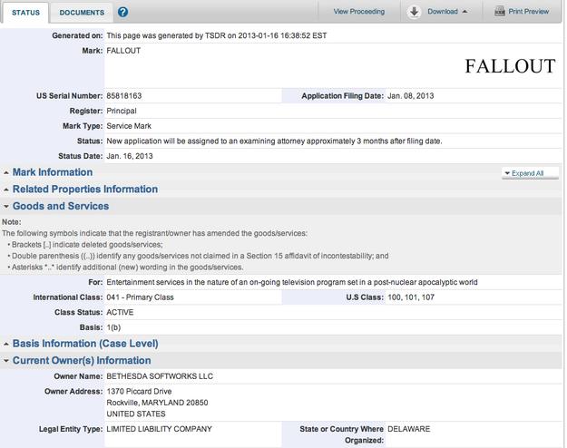 Fallout TV Trademark Registration