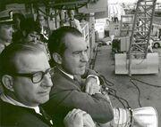 Richard Nixon watching the launch of the Virgo II landing craft