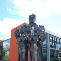 The Innovation Statue of the University, gifted by the Blithebeth Art College after the two partnered. It is situated in front of the English Department's modern build, as the former was growing too small for the department's needs, now becoming the Art College-run Art Department.