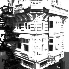 The Juggernaut Building on the corner of Factory Street in the midst of a destruction scene in 1945; after heavy bombing, the building itself was damaged, its neighbours flattened