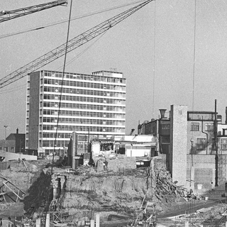 The construction of Marldon near the site of Belmont Wharf. Many Edwardian buildings in the area have been cleared.
