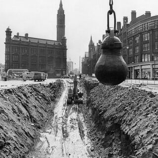 The demolition of Tyde Hill, the buildings in the background demolished two months later, 1964