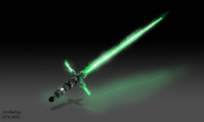 Green tri blade lightsaber by chingoryu-da7xp1e