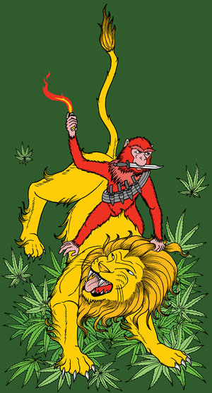 Red riding lion