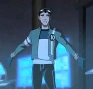 Rex wearing ben's jacket