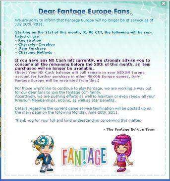 Fantage Europe CLOSED