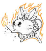 Pixie dustbunny flaming