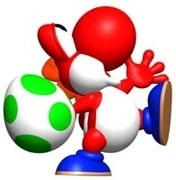 Red yoshi throwing a egg