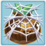 Grass seed under cobweb